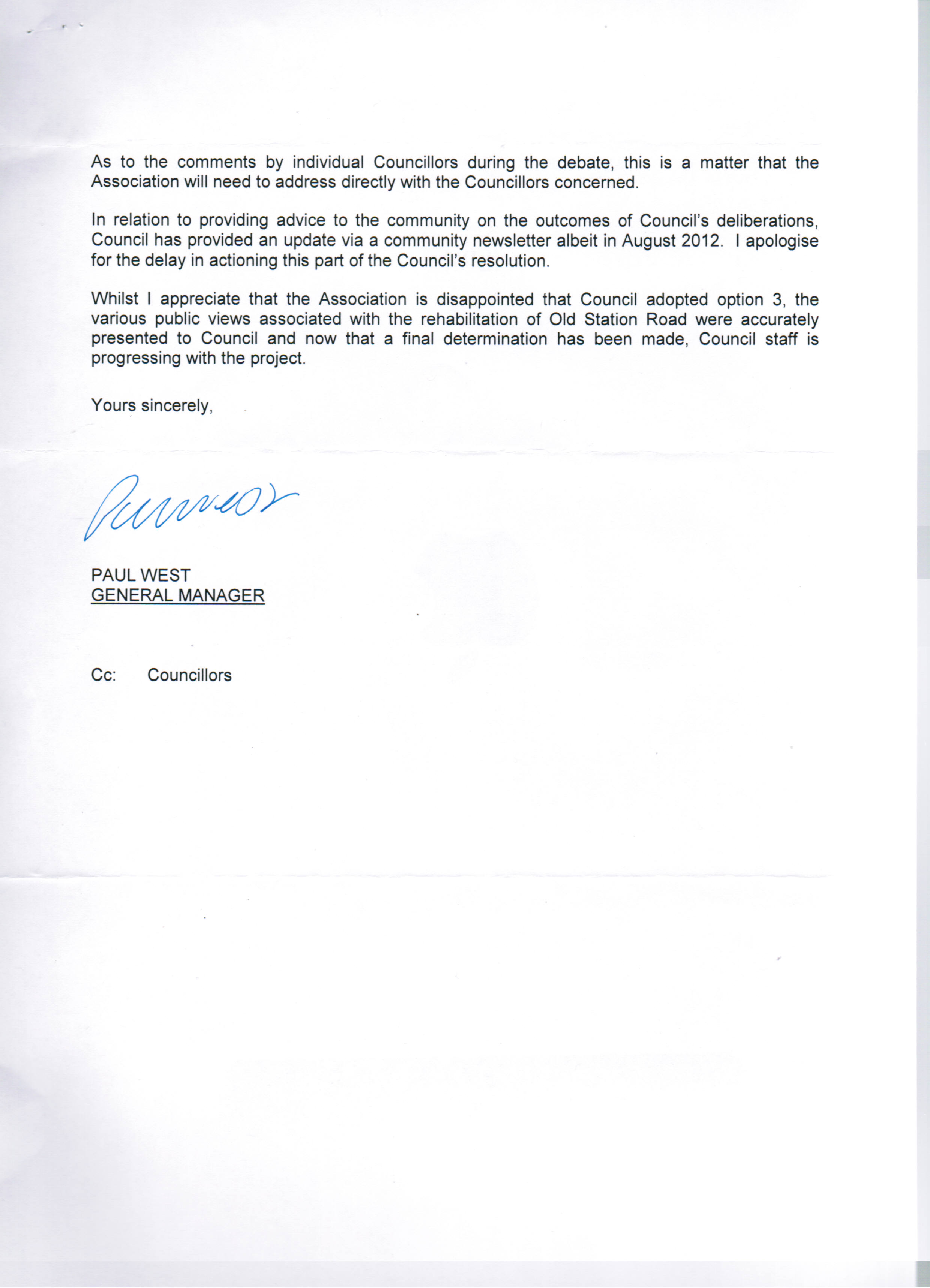 response letter re foreshore road letter from calsca coningham i am assuming that everyone knows the saga which is pretty well covered in previous posts we would be interested in your comments about mr west s response